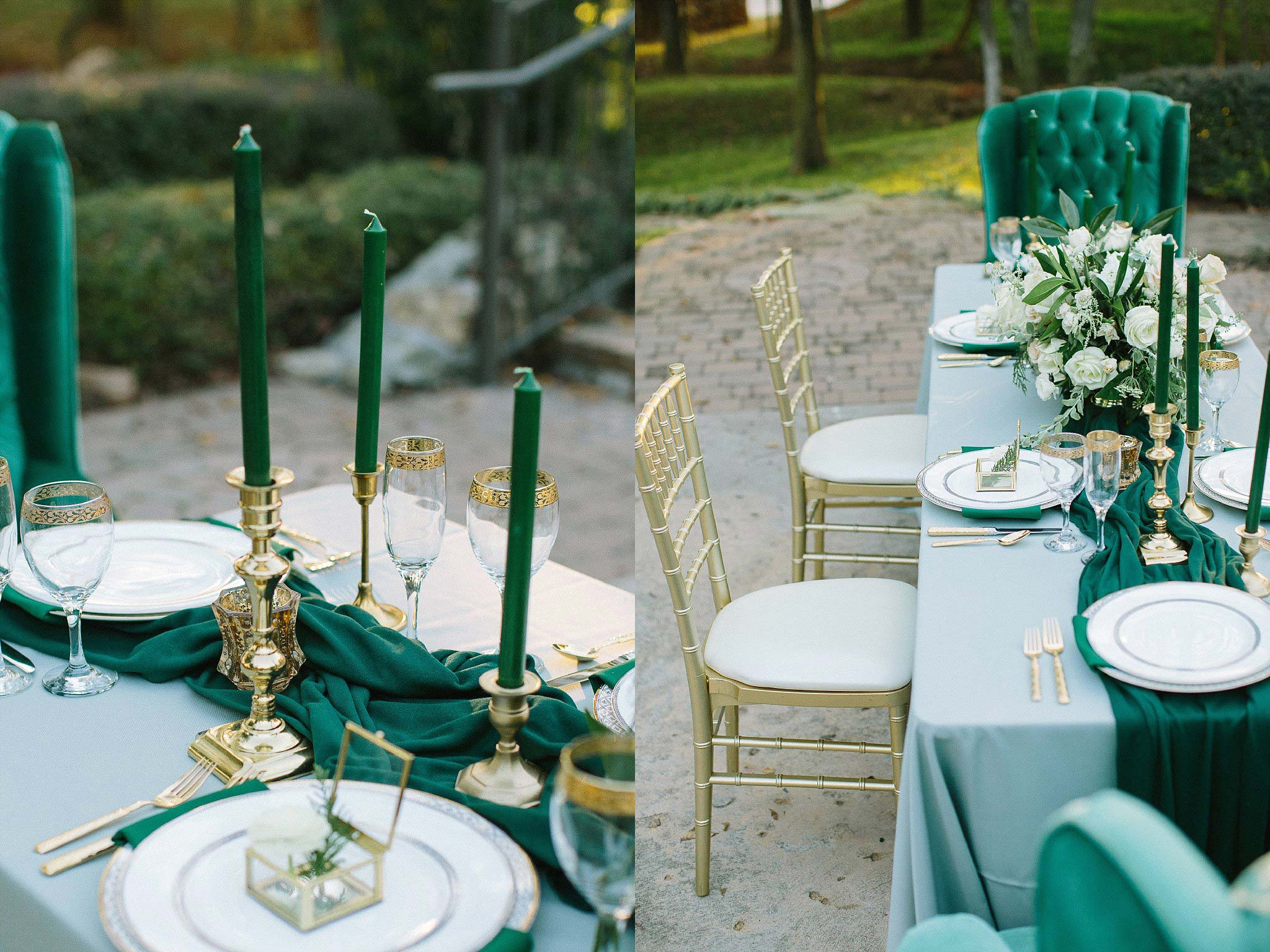 aristide mansfield wedding grey reception table with green tapered candles