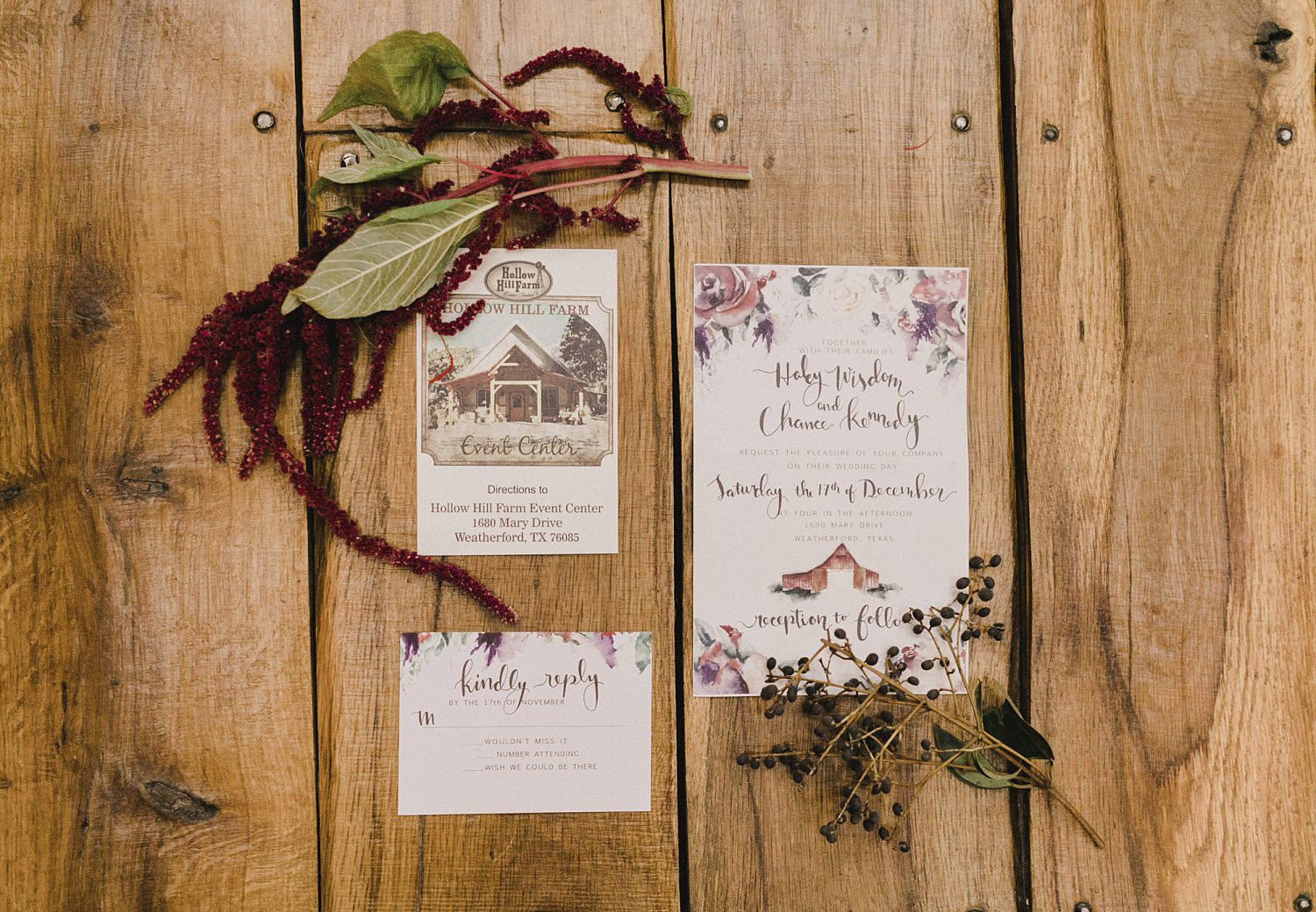Hollow Hill Farm Event Center Wedding floral invitation with modern text