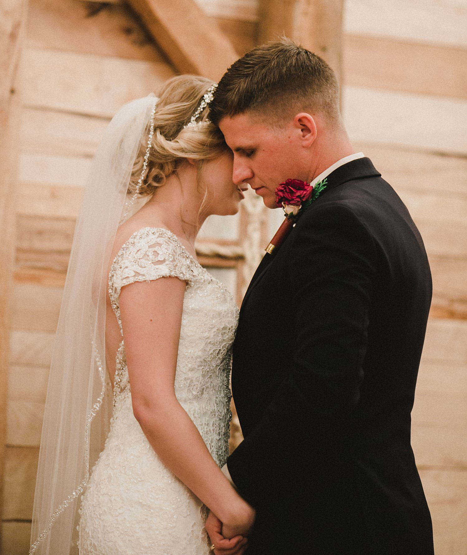 Hollow Hill Farm Event Center Wedding bride and groom kissing