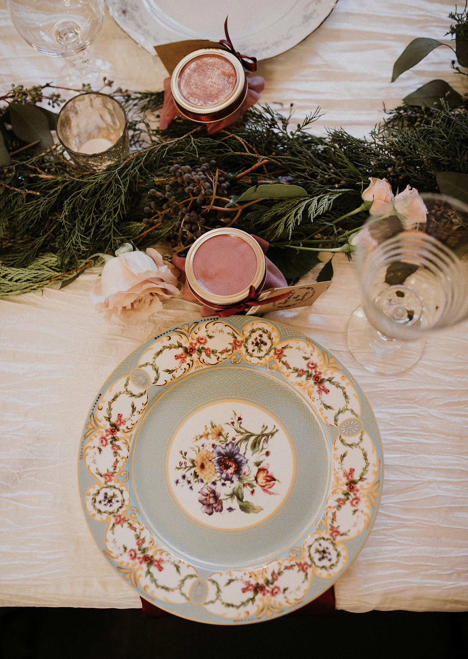 Hollow Hill Farm Event Center Wedding vintage china place setting with jam jar favor