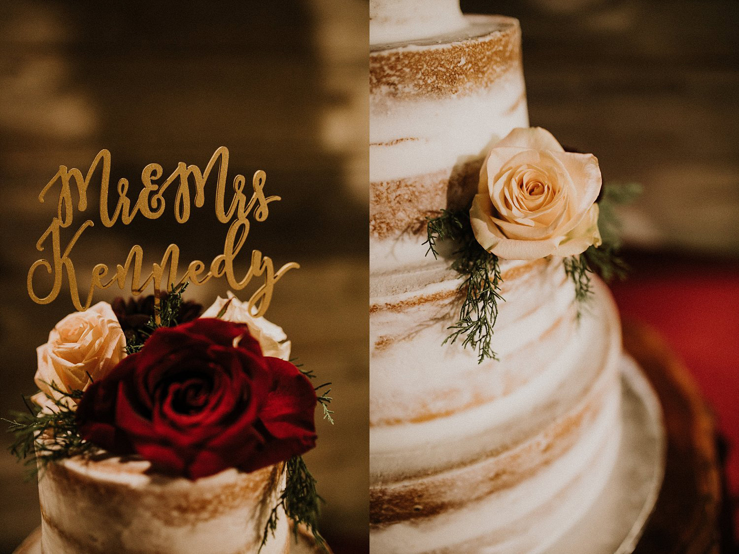 Hollow Hill Farm Event Center Wedding naked cake with laser cut cake topper in old town