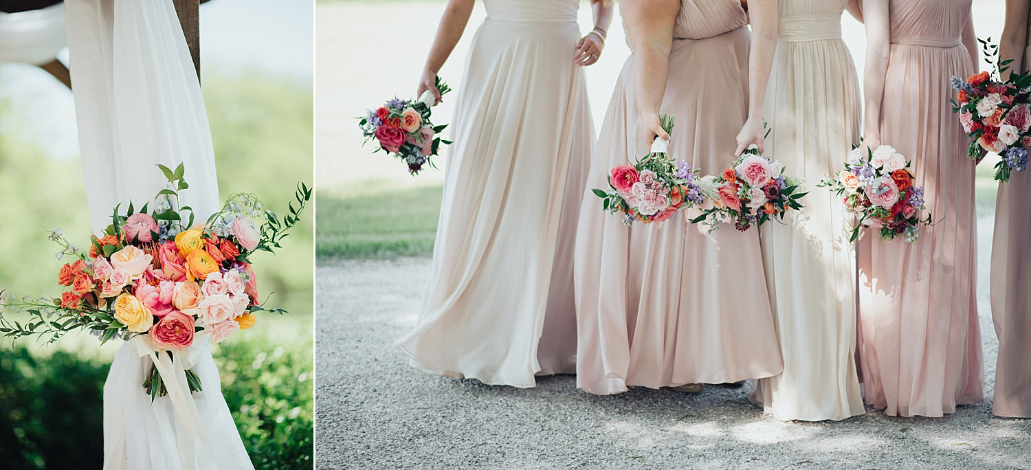 The Orchard Azle wedding bridesmaids with blush dresses and colorful bouquets