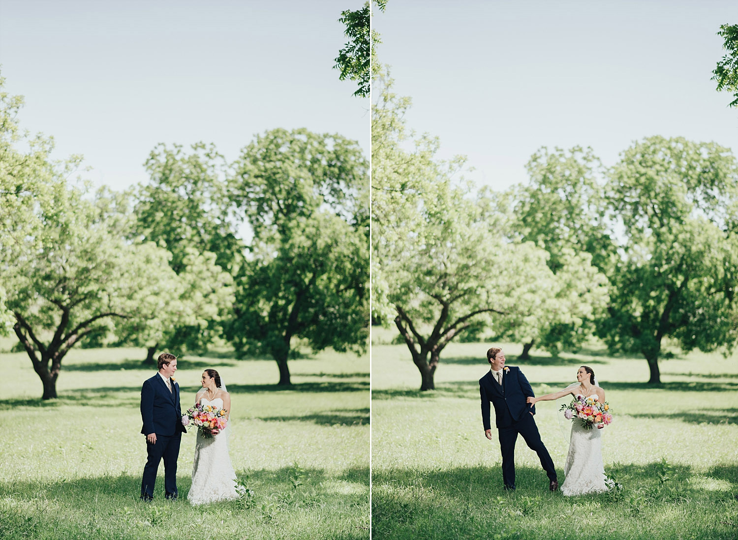 The Orchard Azle wedding bride and groom outdoors in grass
