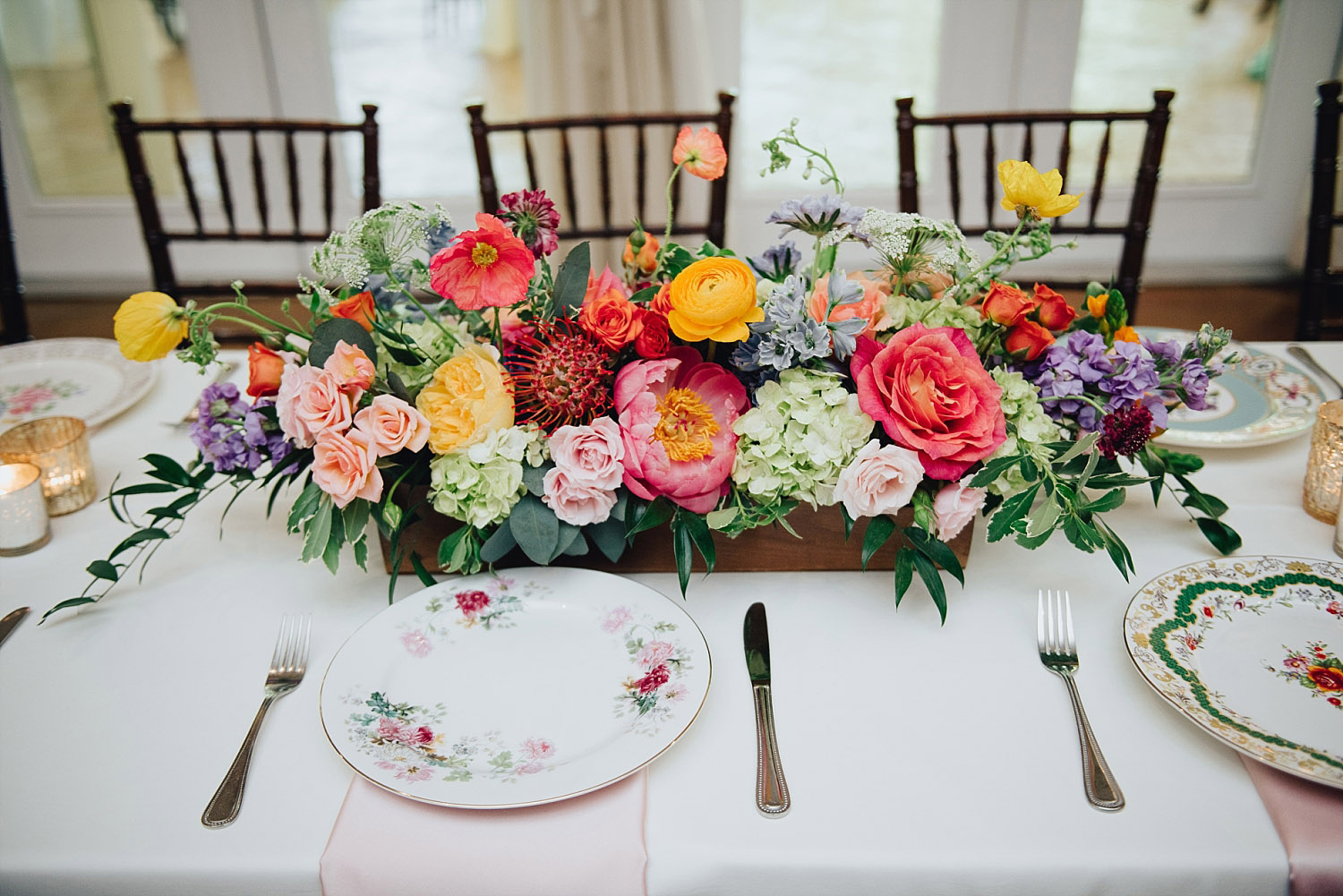 The Orchard Azle wedding colorful wedding flowers
