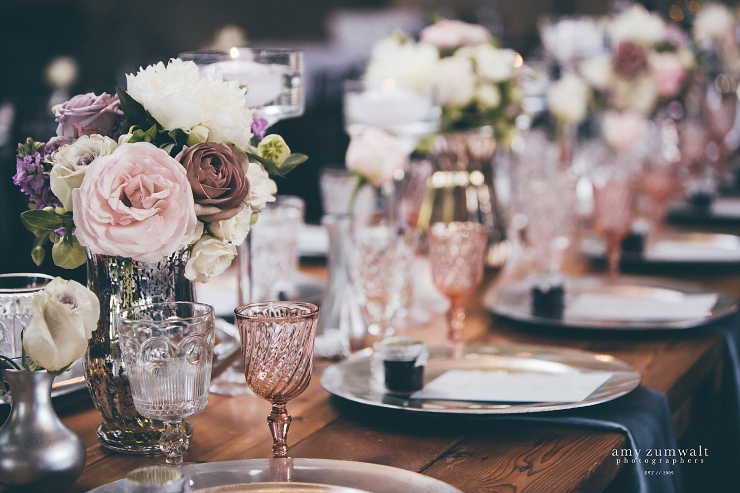 The Brooks at Weatherford wedding head table with blush vintage glassware