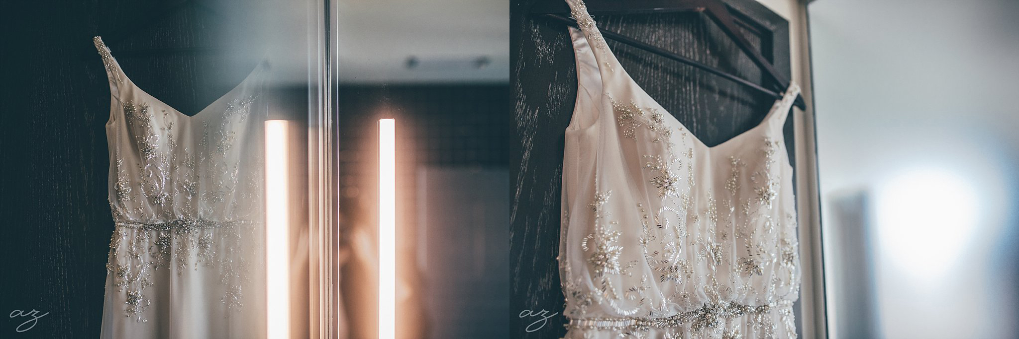 Wedding dress with silver crystals at the Joule Hotel