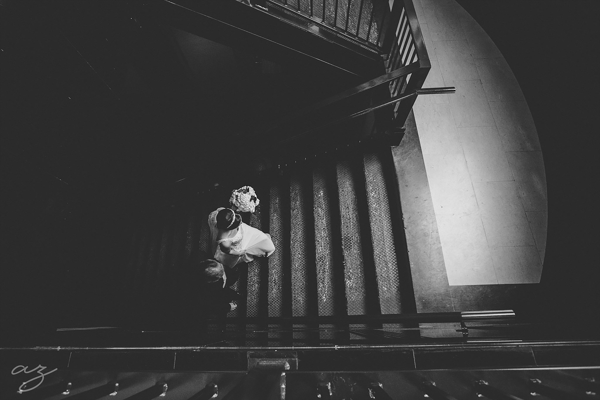 Carlisle Room wedding bride walking up stairs