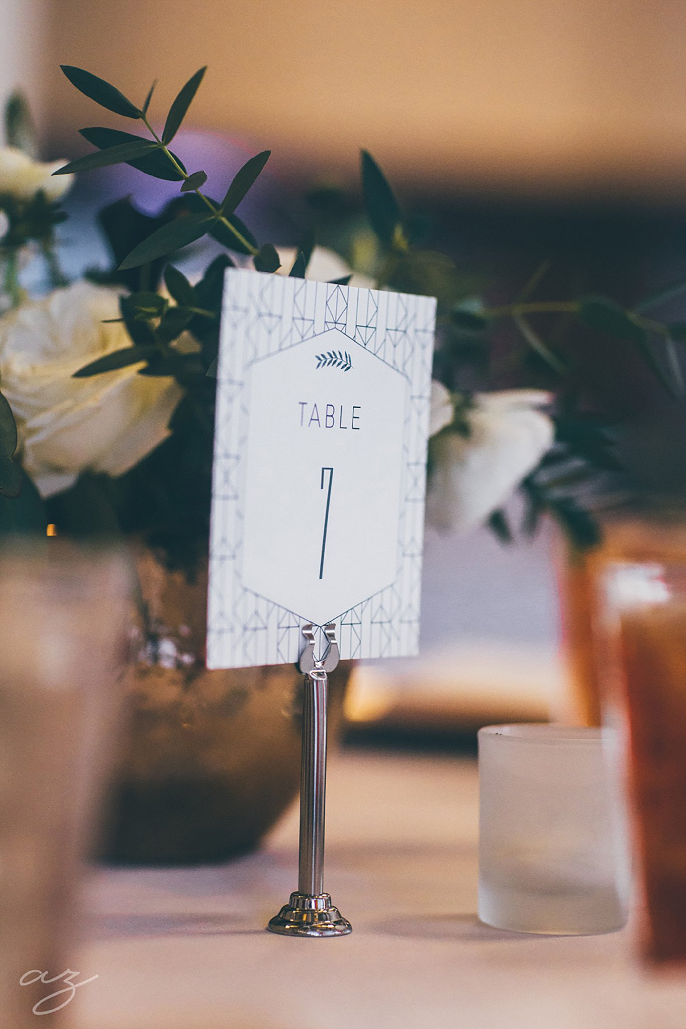 Carlisle Room wedding geometric table numbers