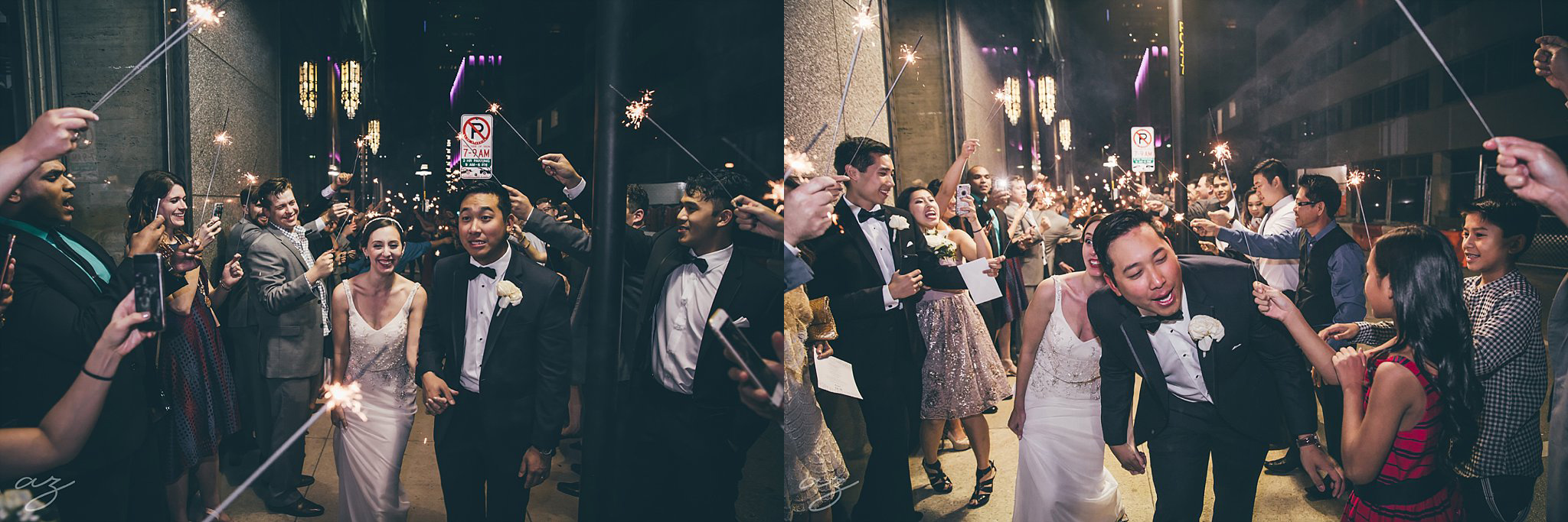 Carlisle Room wedding sparkler exit in downtown dallas