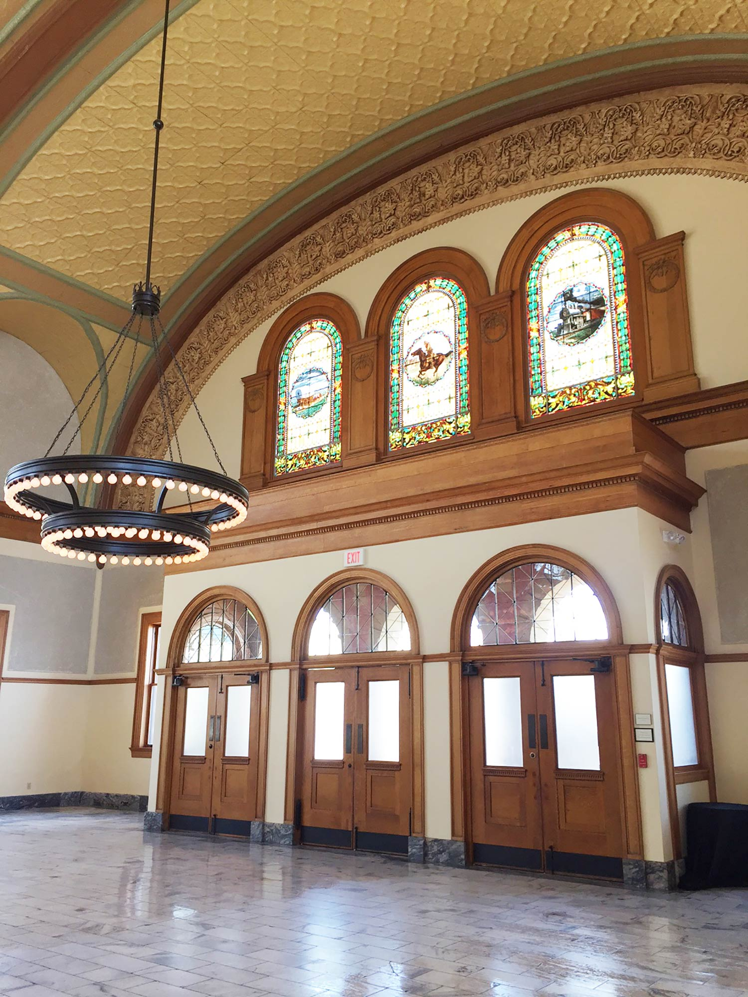 Fort worth wedding venue Ashton Depot stained glass windows