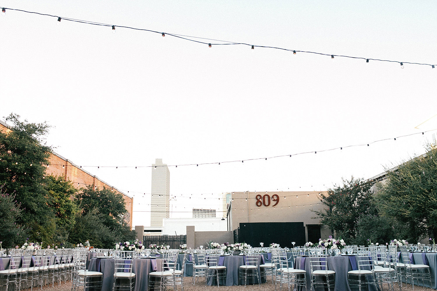 809 at Vickery wedding reception in courtyard