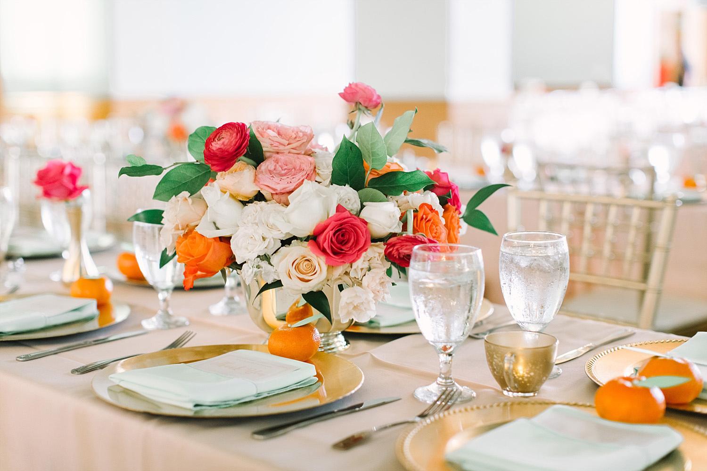Old Red Museum wedding reception bright pink orange and blush wedding flowers