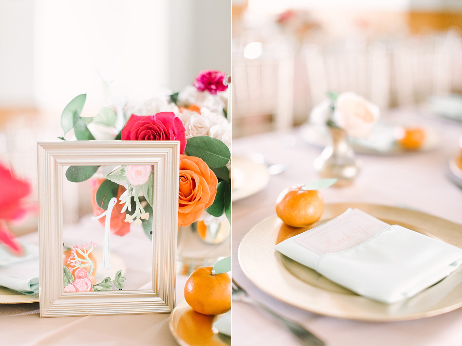 Old Red Museum wedding reception with clementines at the place setting