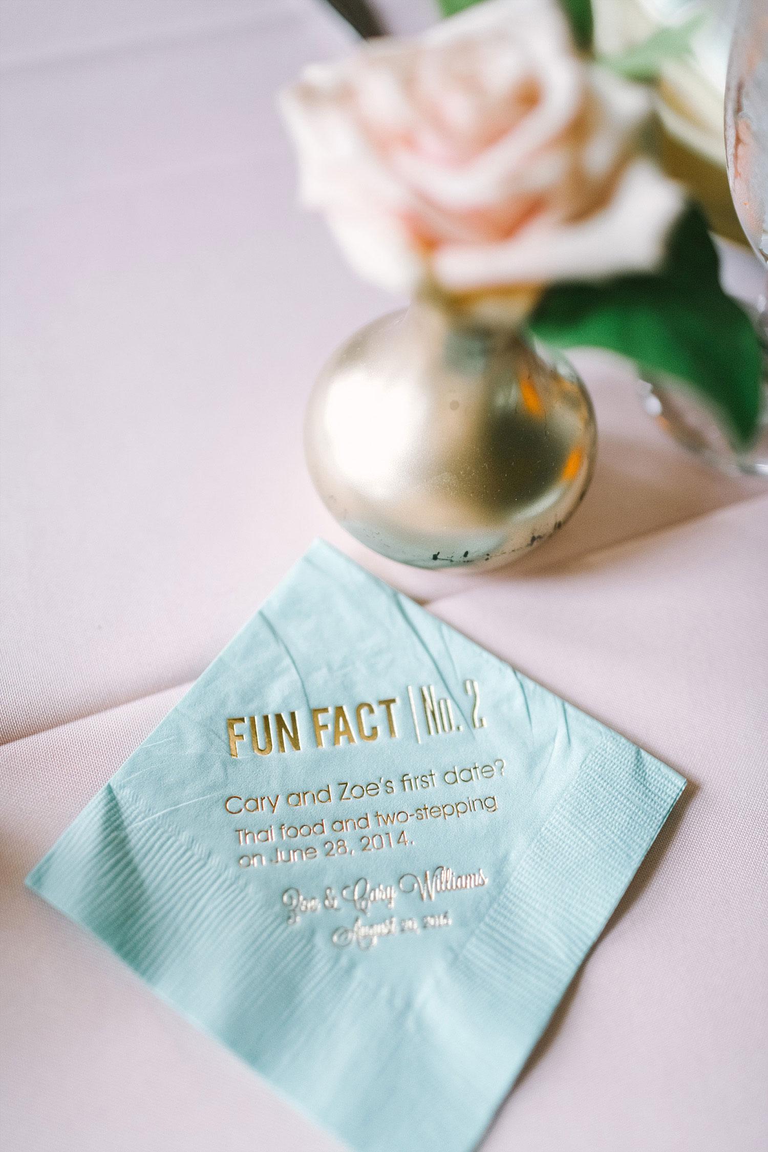 Fun fact mint cocktail napkin