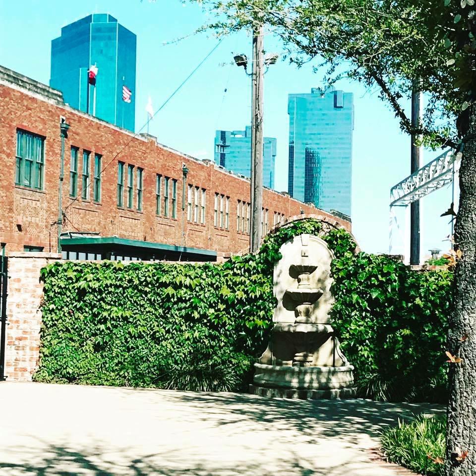 Ashton Depot exterior courtyard fountain in Fort Worth, TX
