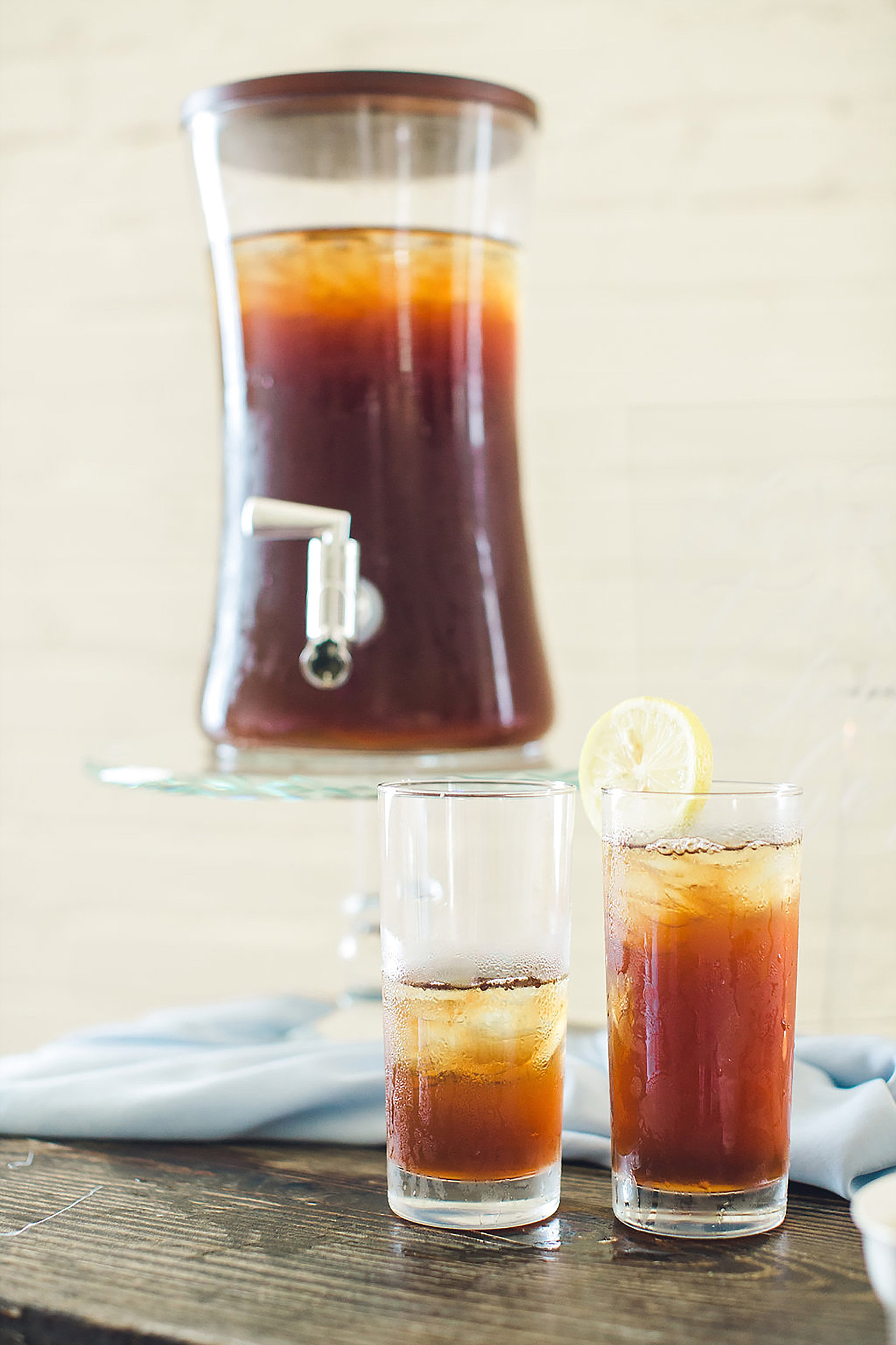 Iced tea station at a southern weddng