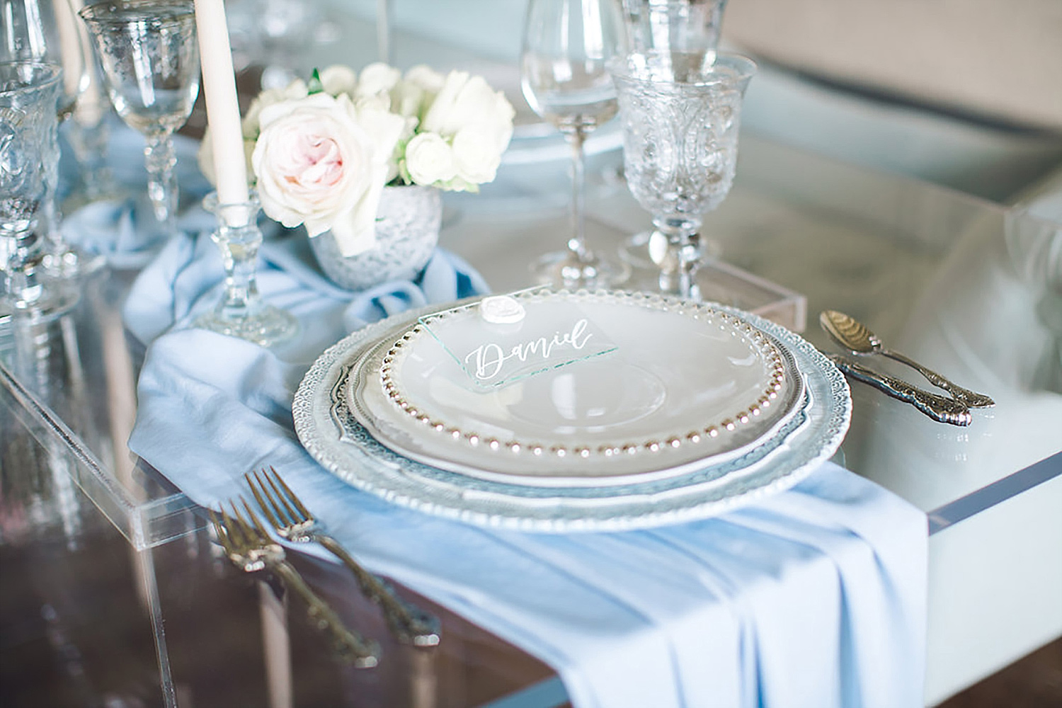 Dusty blue place setting at Brik Venue for Brides of North Texas Magazine