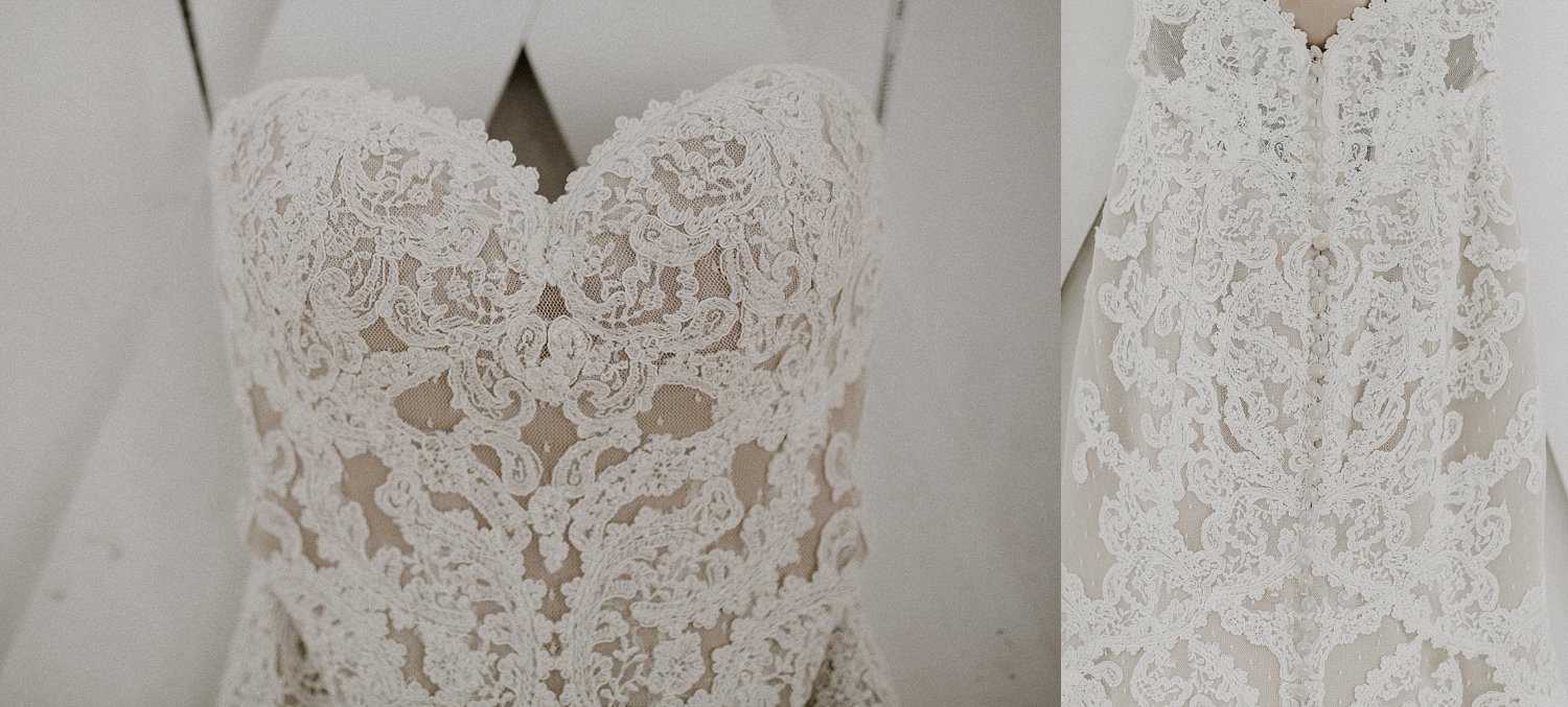 Wedding dress with white lace over nude linning