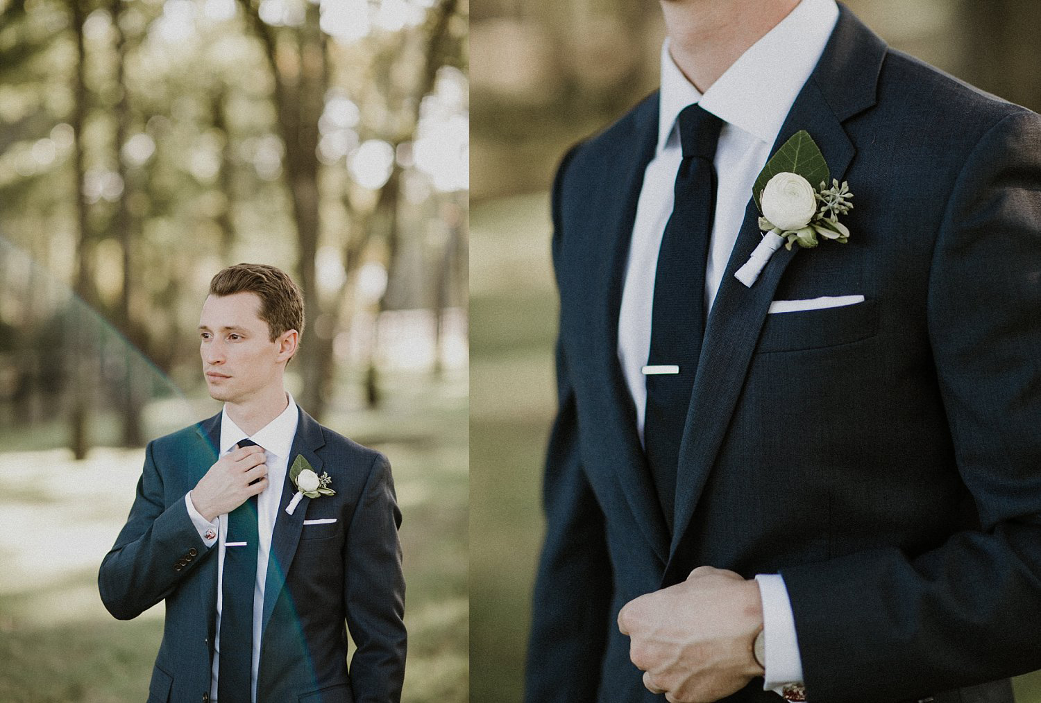 Groom wearing a white ranunculus and black tie with a tie clip at this outdoor wedding