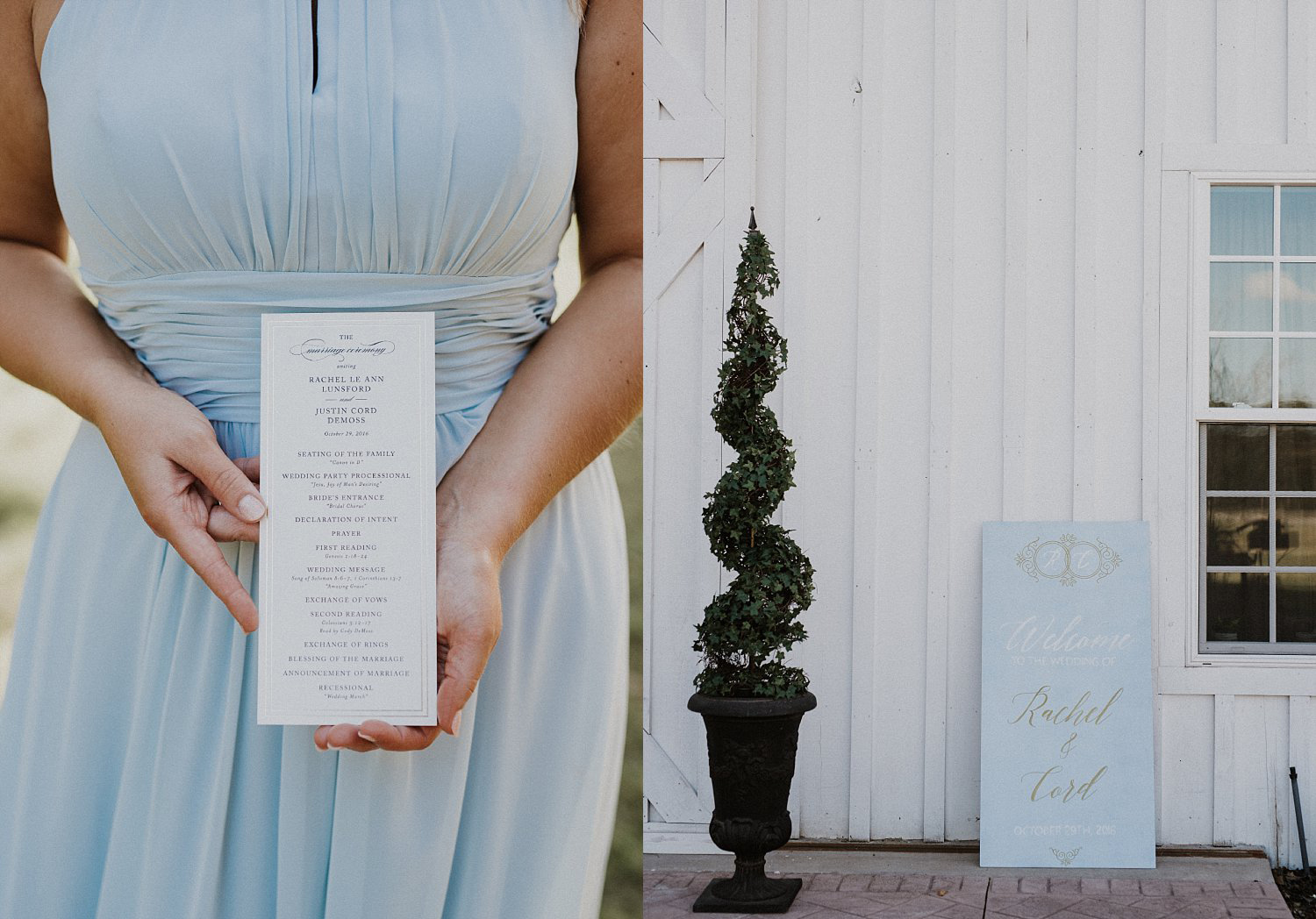 Dusty blue signage with gold wording at White Sparrow Barn