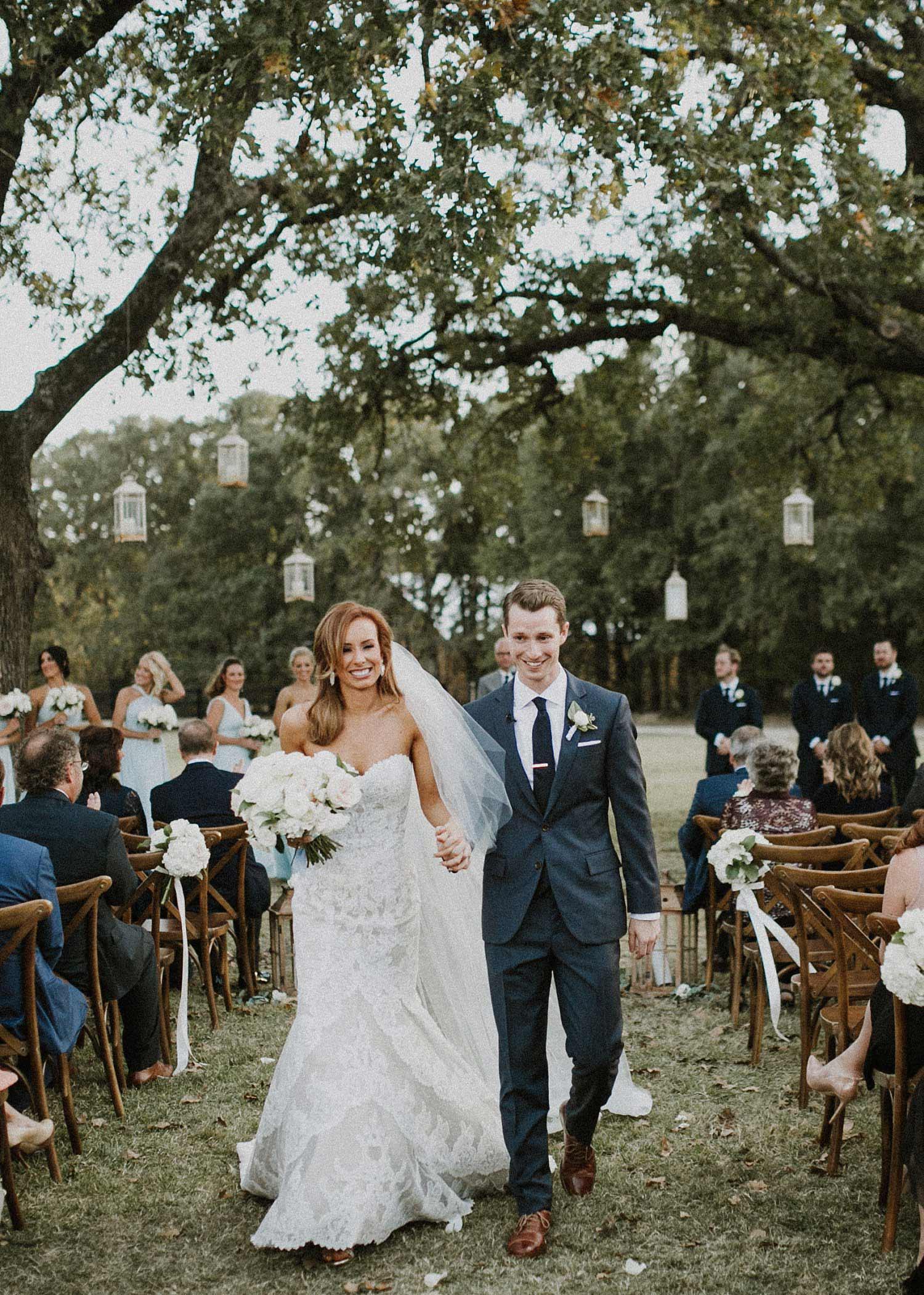 White Sparrow Barn wedding ceremony bride and groom wedding recessional