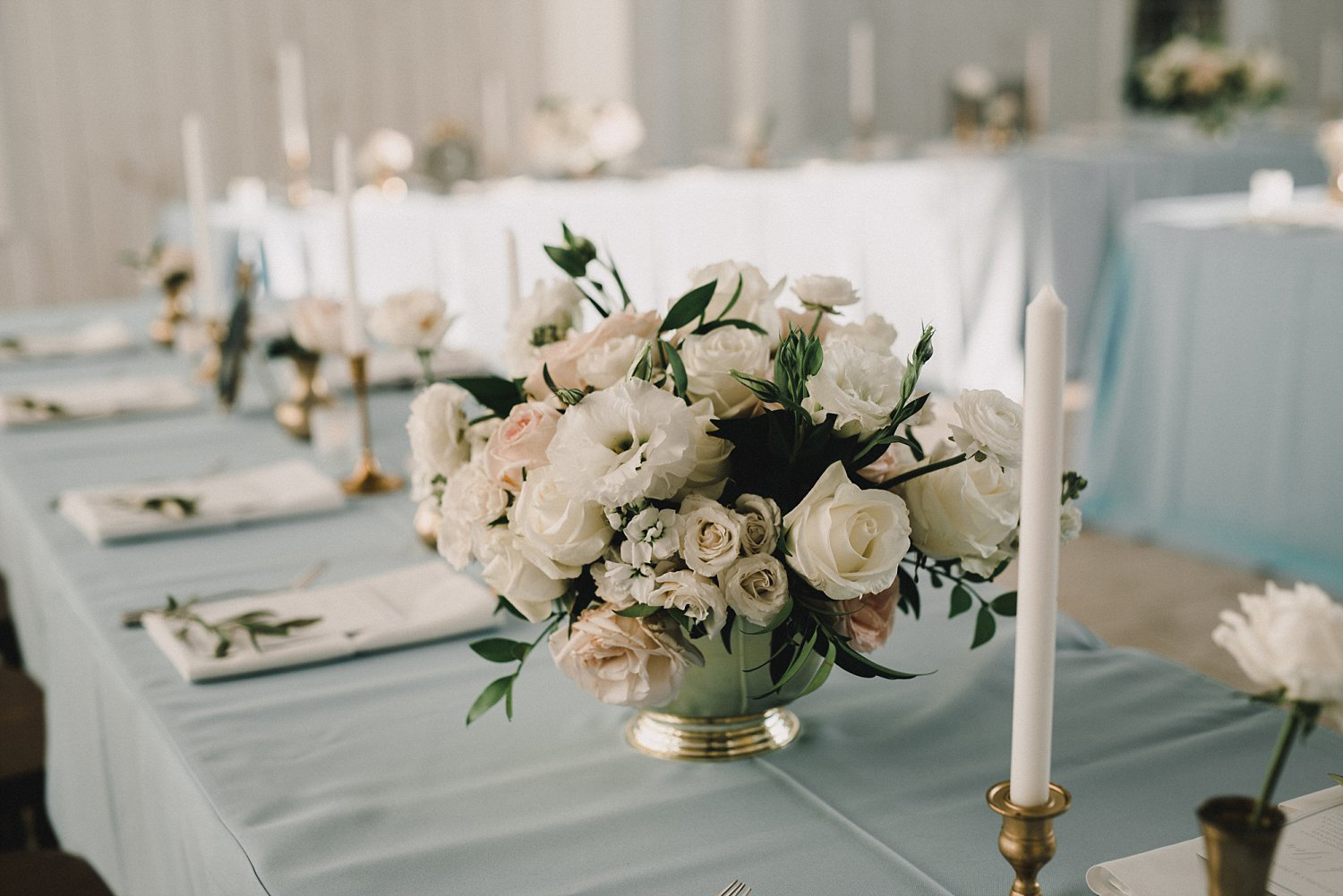 White Sparrow Barn wedding white and blush flowers in gold vase