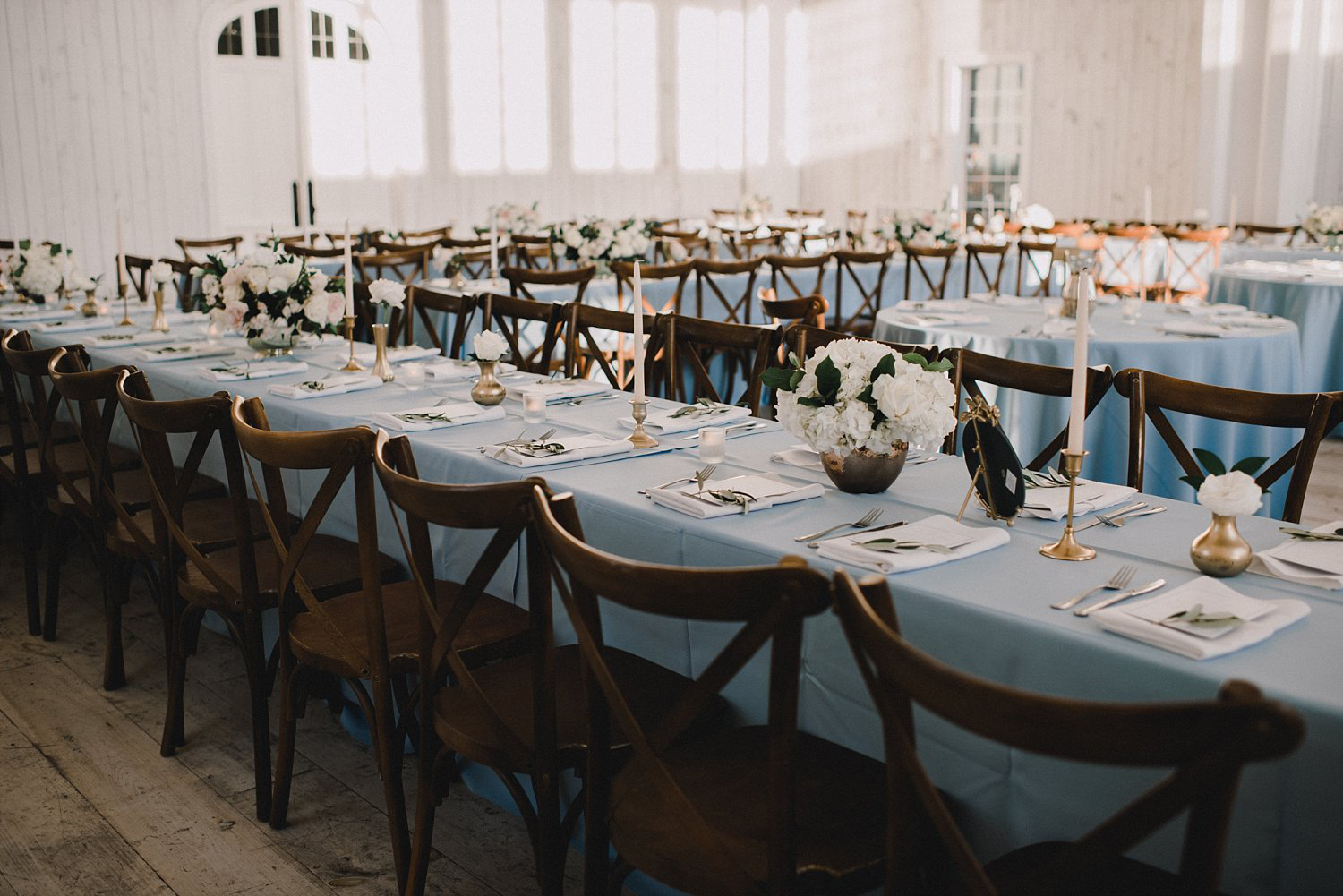 Rectangle dusty blue tables in White Barn