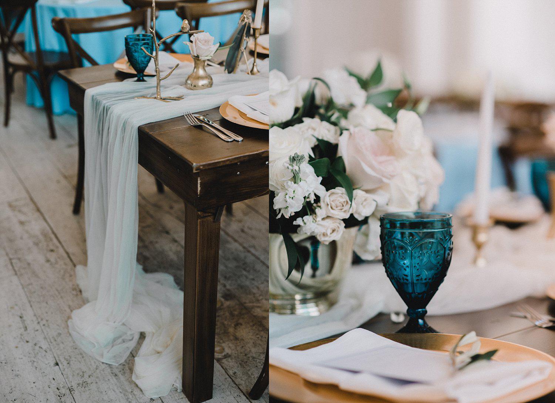 Dark blue vintage goblet on farm table