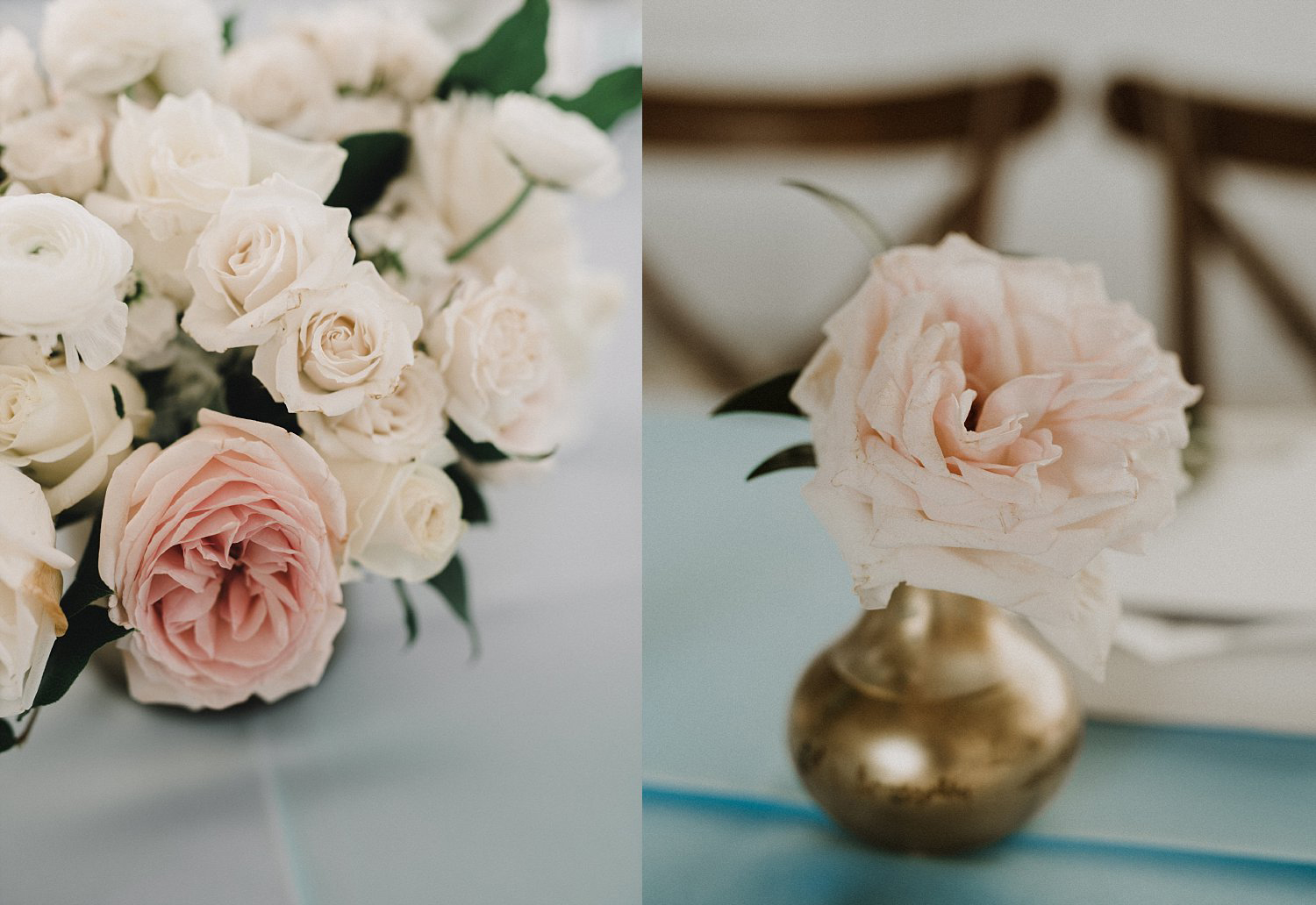 White and blue lush wedding flower arrangments in gold vase