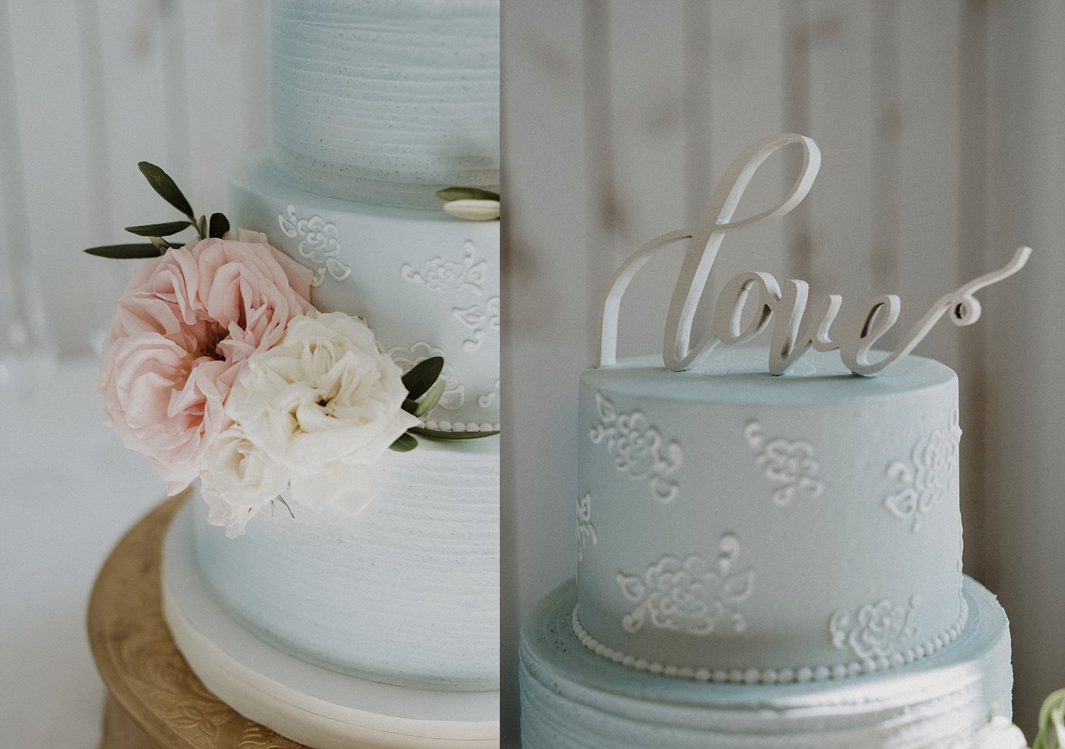 Blue and white real flowers on wedding cake