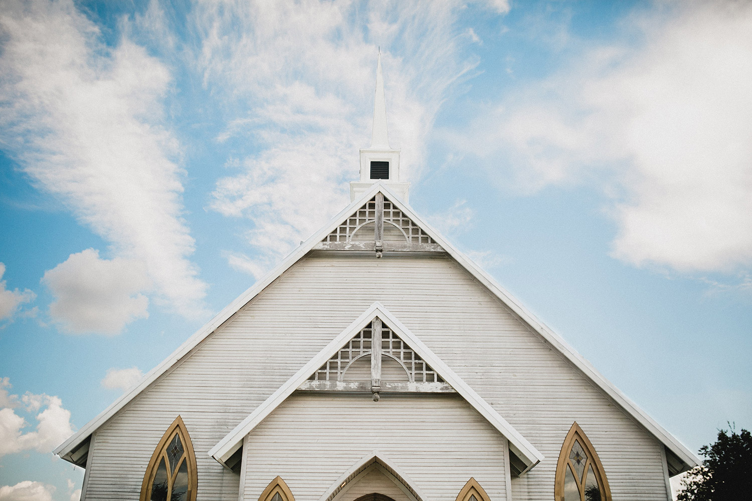 Steeple of the Brooks at Weatherford white country chapel