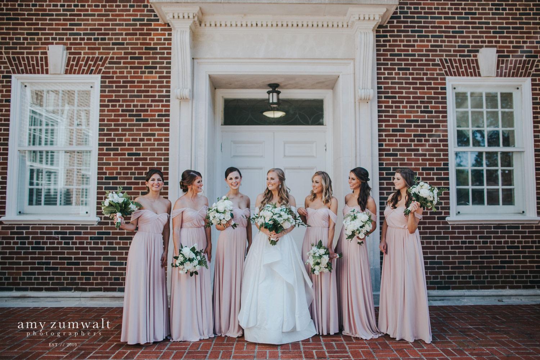 first presbyterian church wedding with long blush bridesmaid dresses