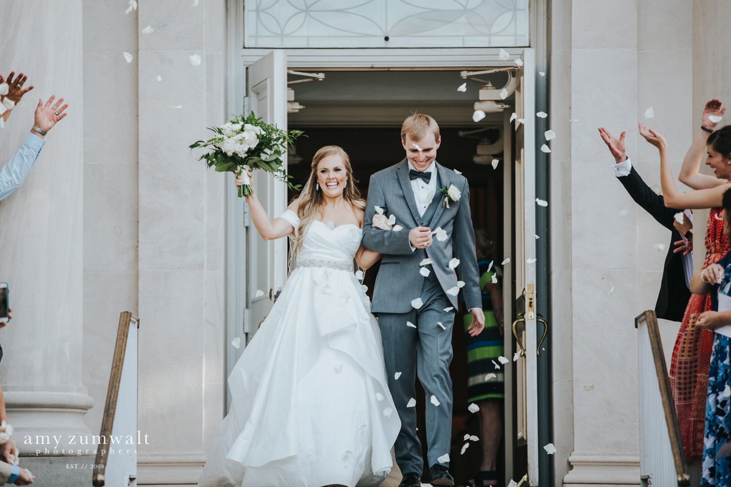 Bride and groom pedal exit at church