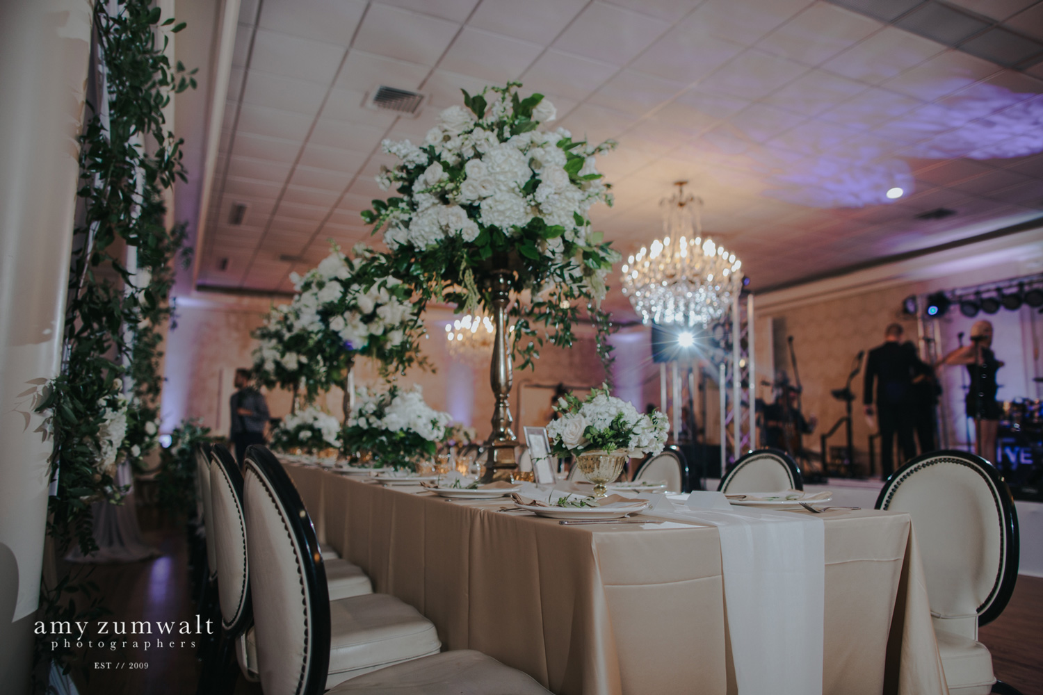 Rectangle table with white chiffon table runner