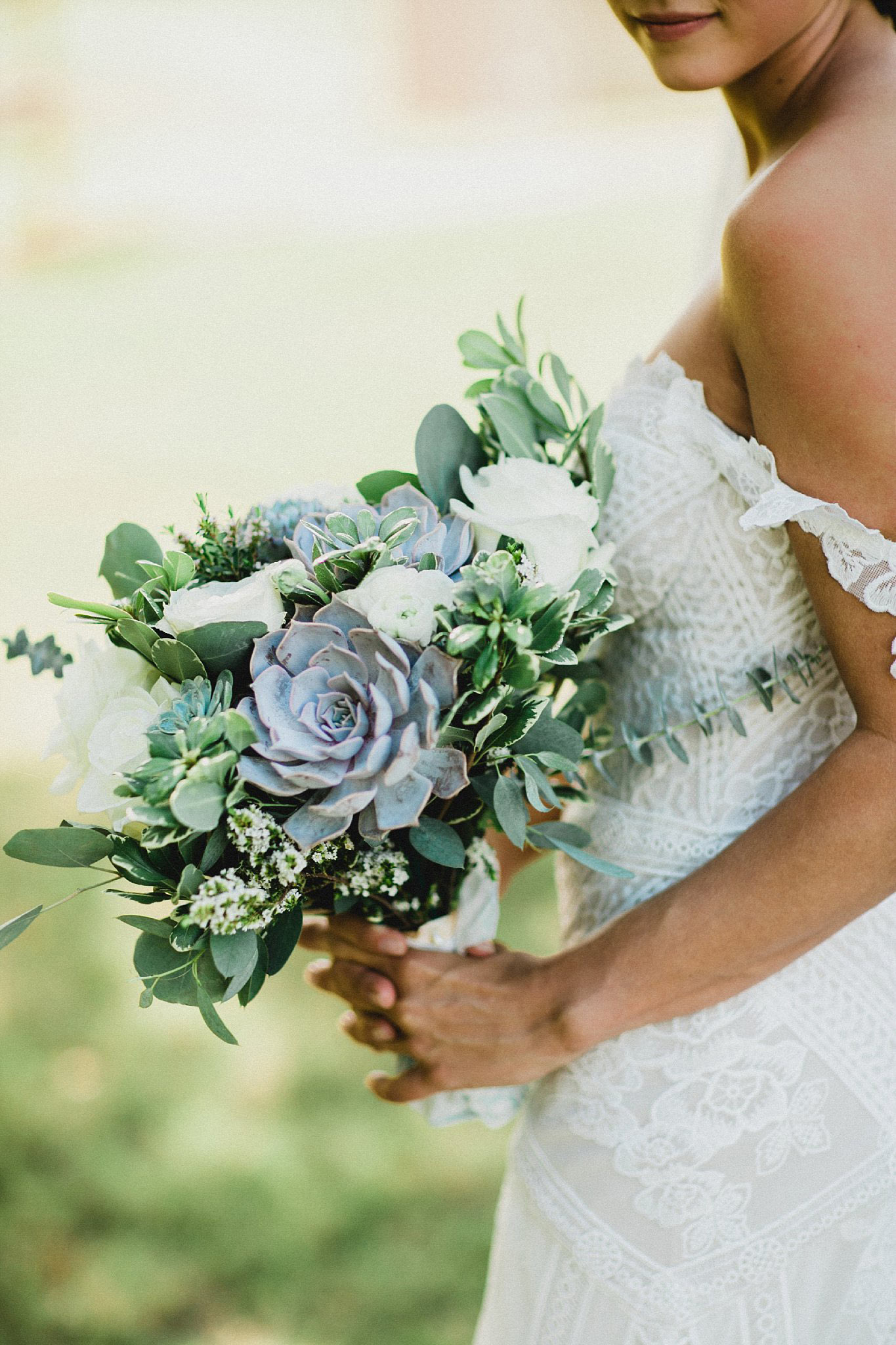 Succulent and greenery bridal bouquet