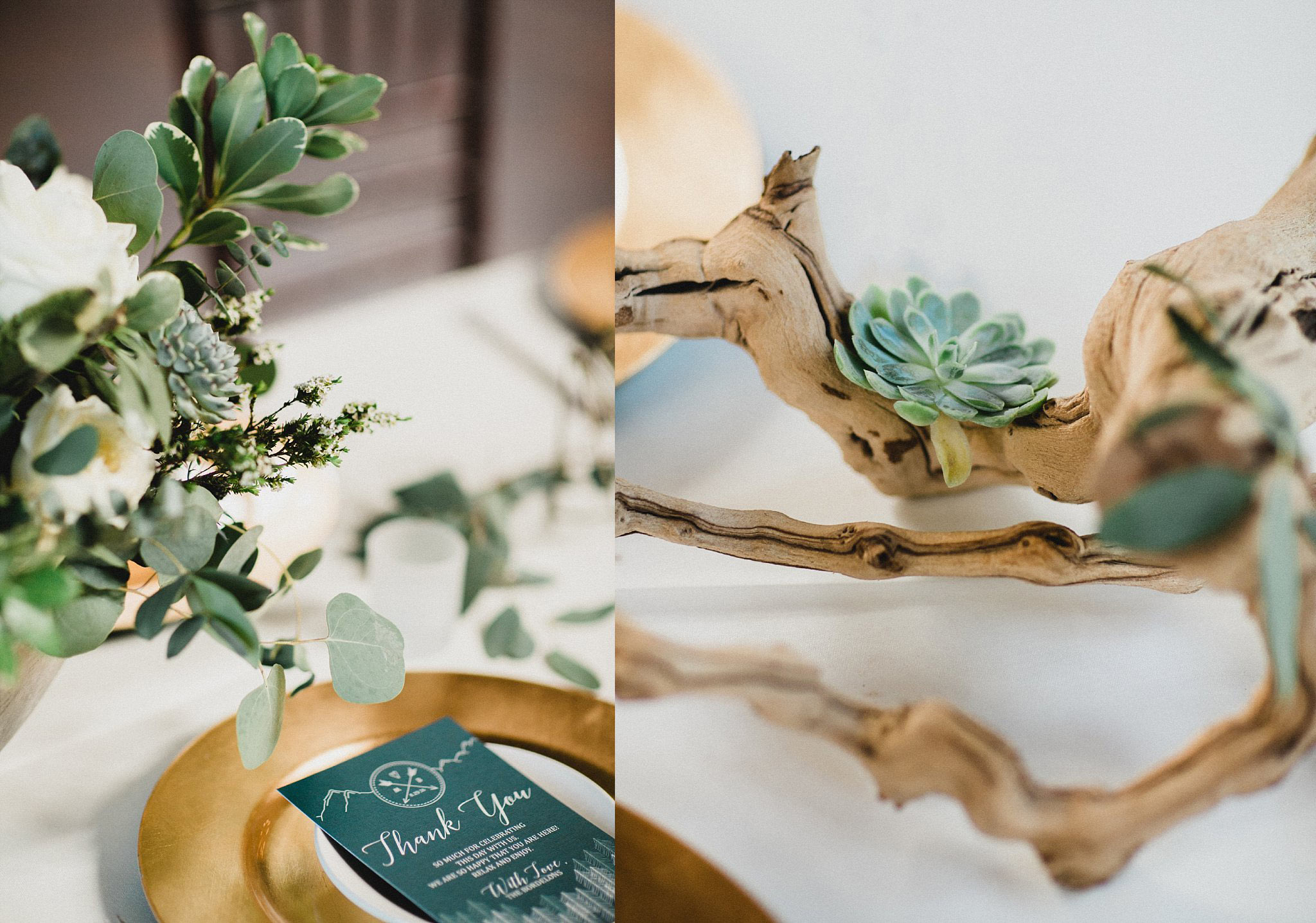 Driftwood and succulents on tables for organic wedding table decor