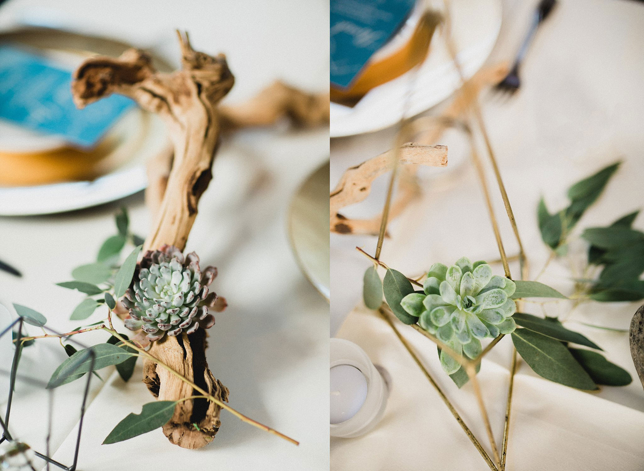 Geometric shapes and succulents for organic mountian wedding