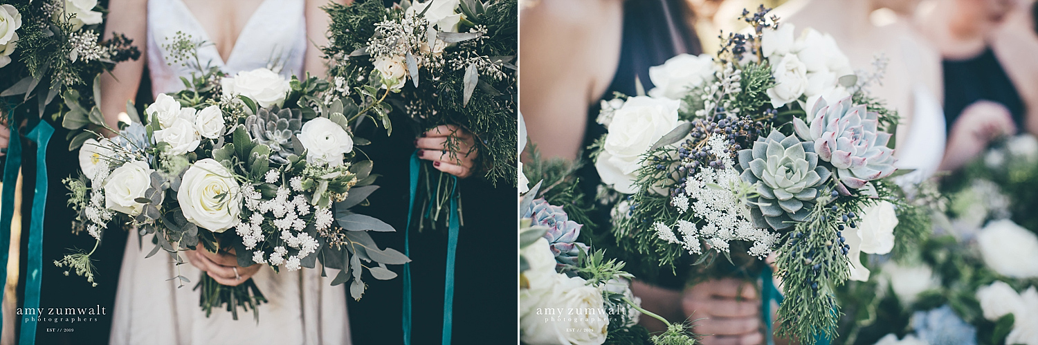 evergreen succulent rose sage wedding bouquet