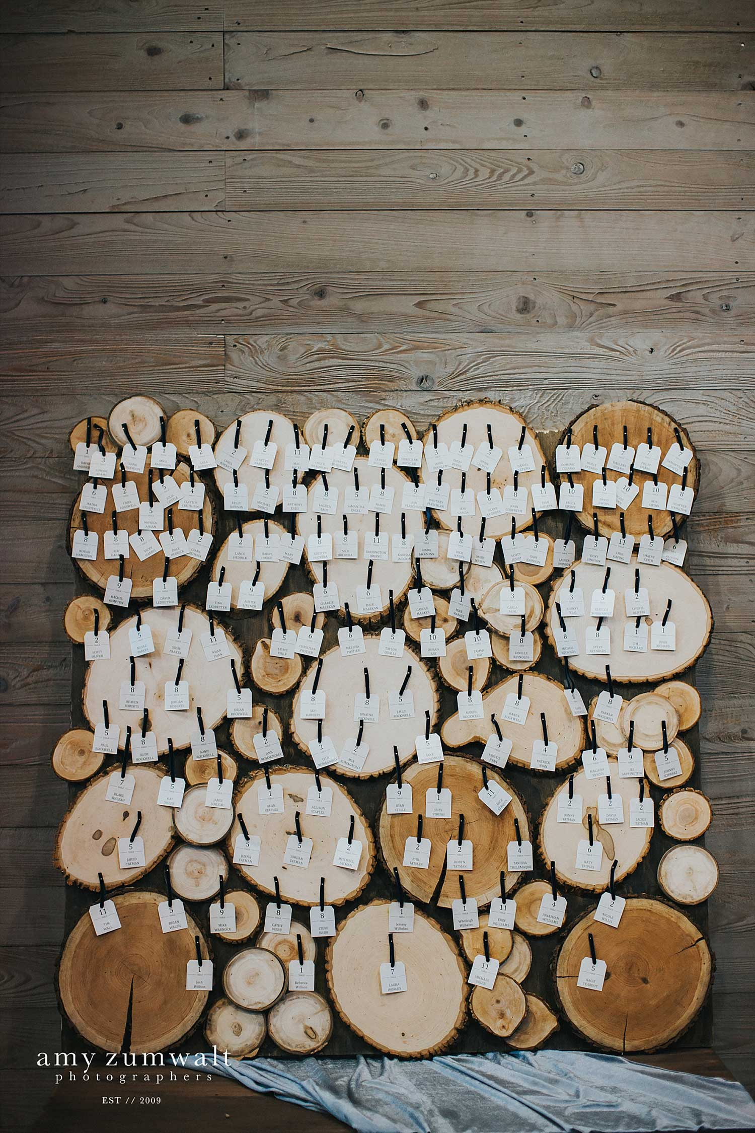Wood stump seating chart