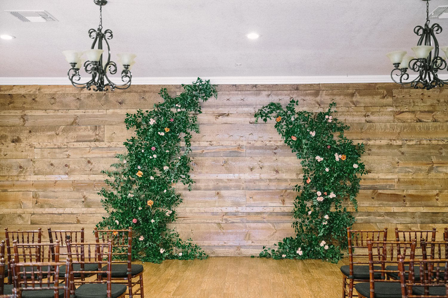 Indoor wedding ceremony at the Orchard in Azle TX