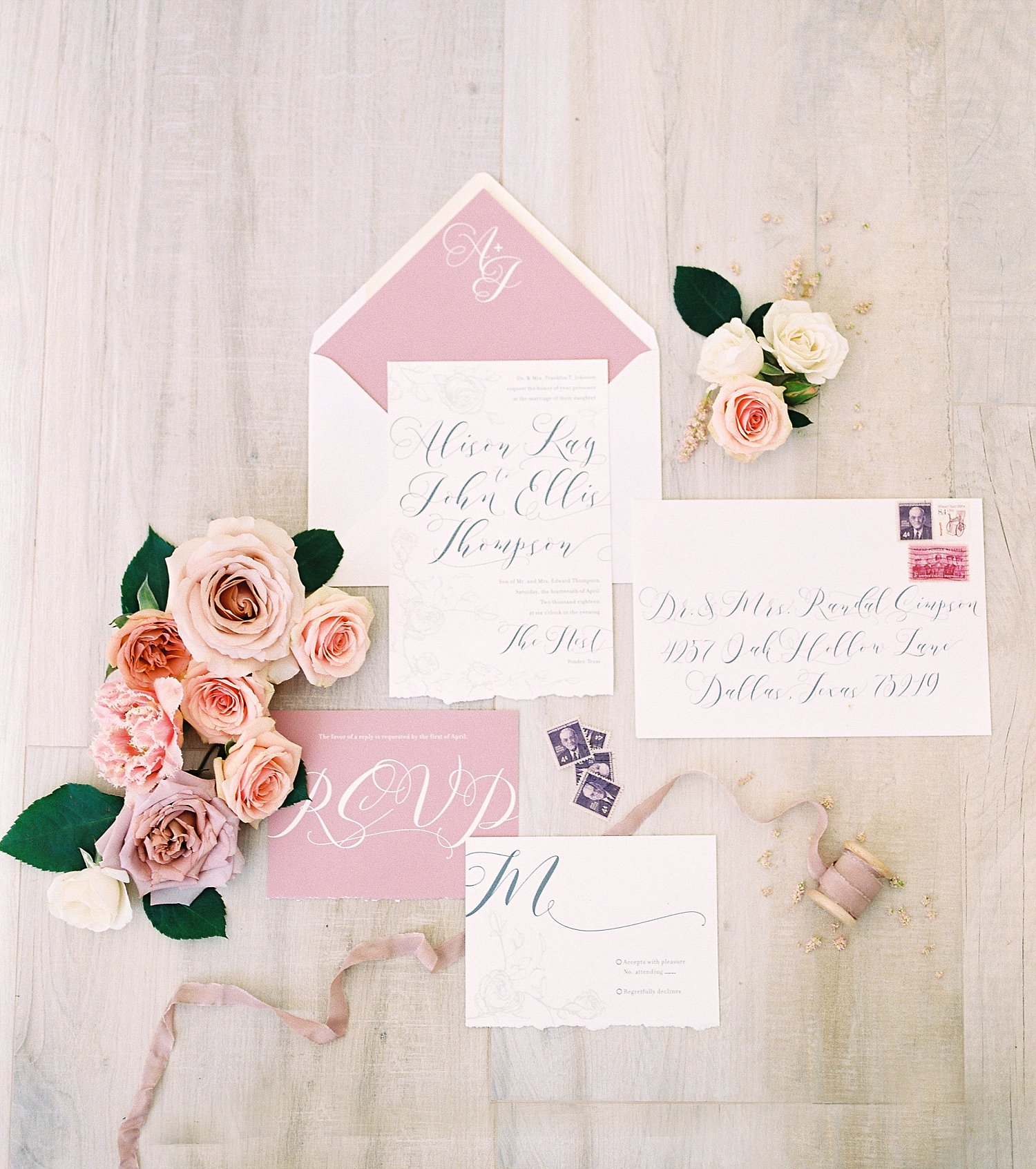 mauve and blush wedding invitation with roses
