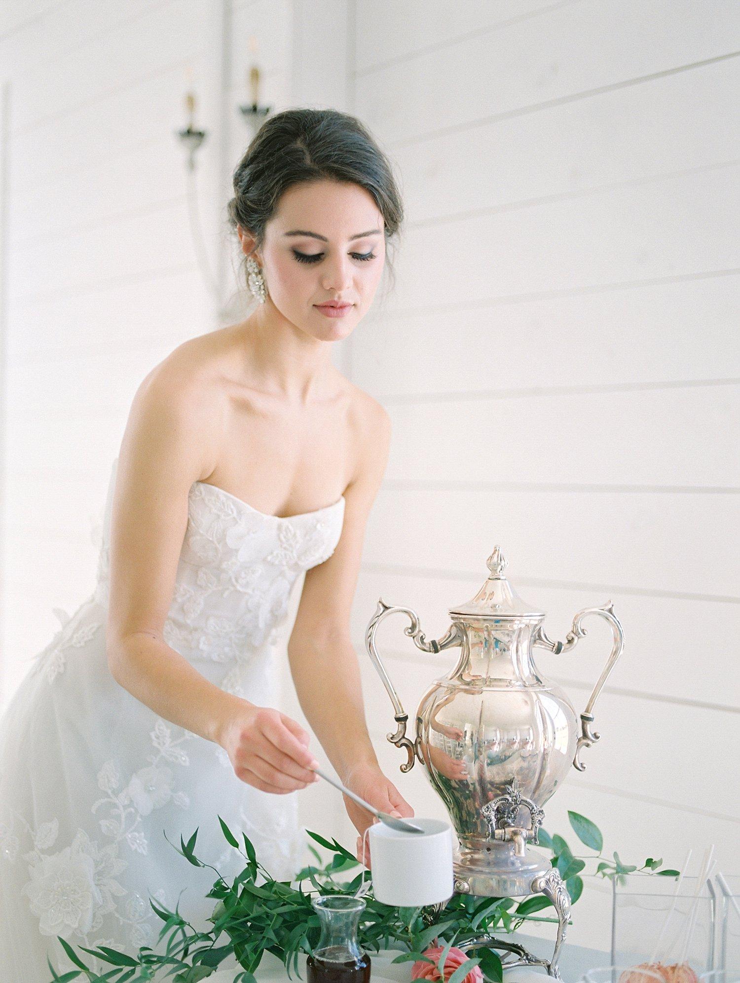 bride pouring hot tea