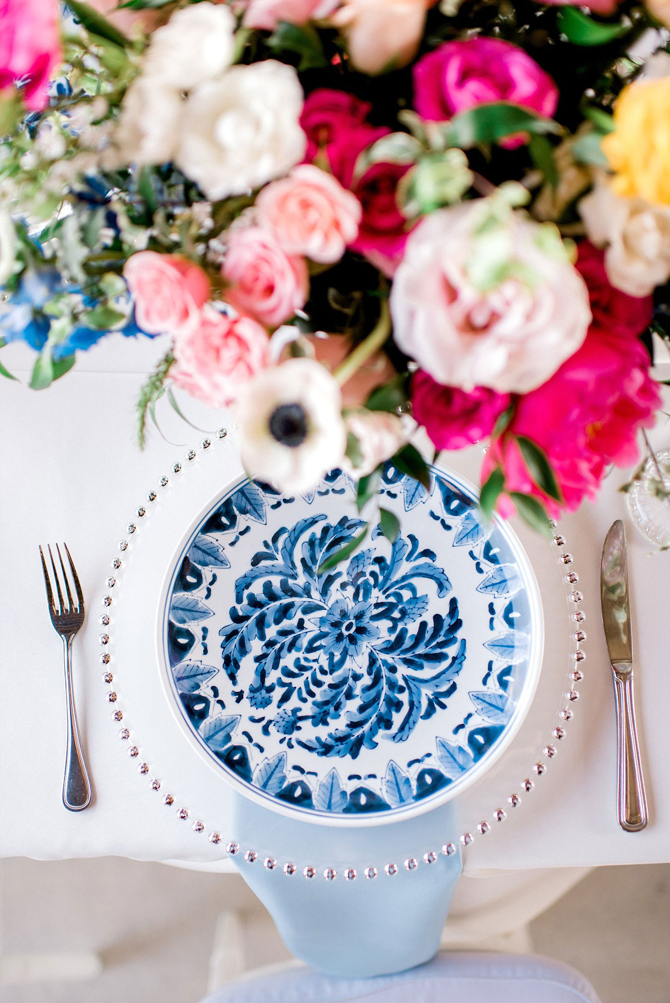 Vintage blue china and pink flowers