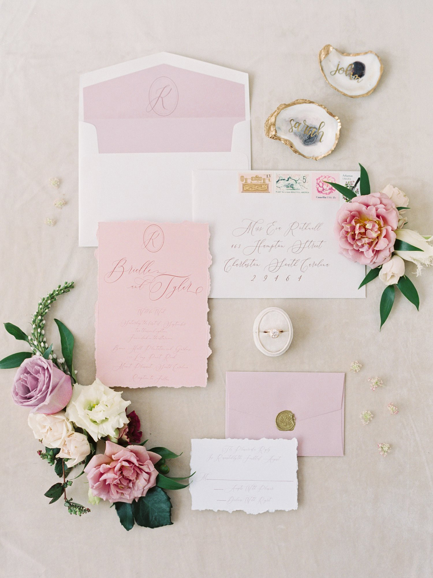 Mauve and dusty rose Southern fine art wedding invitation