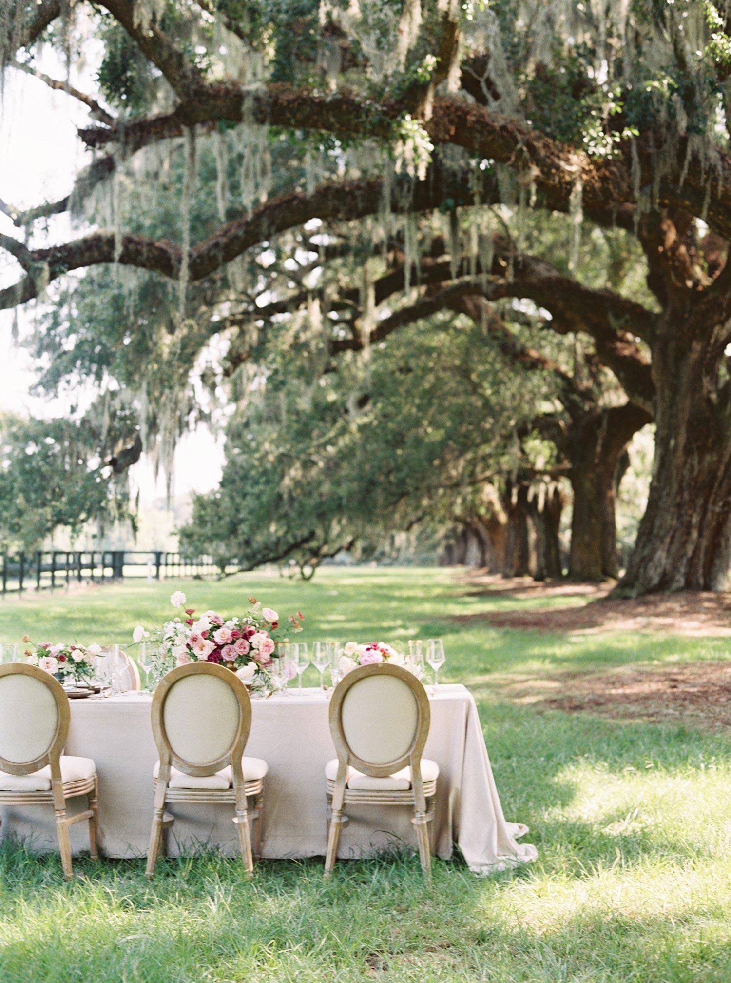 Outdoor wedding reception at Boone Hall Plantation Charleston SC