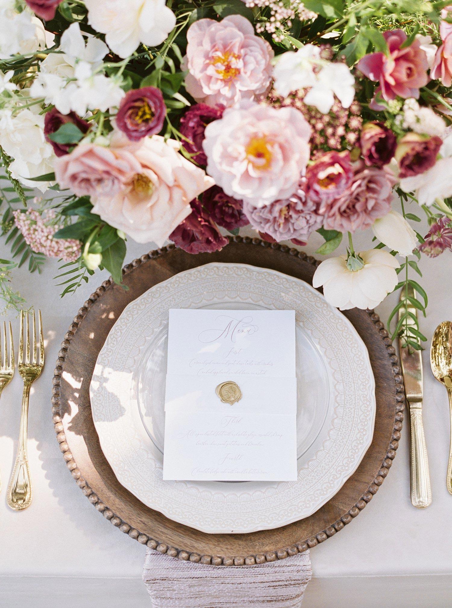 Fine art menu with a gold wax seal