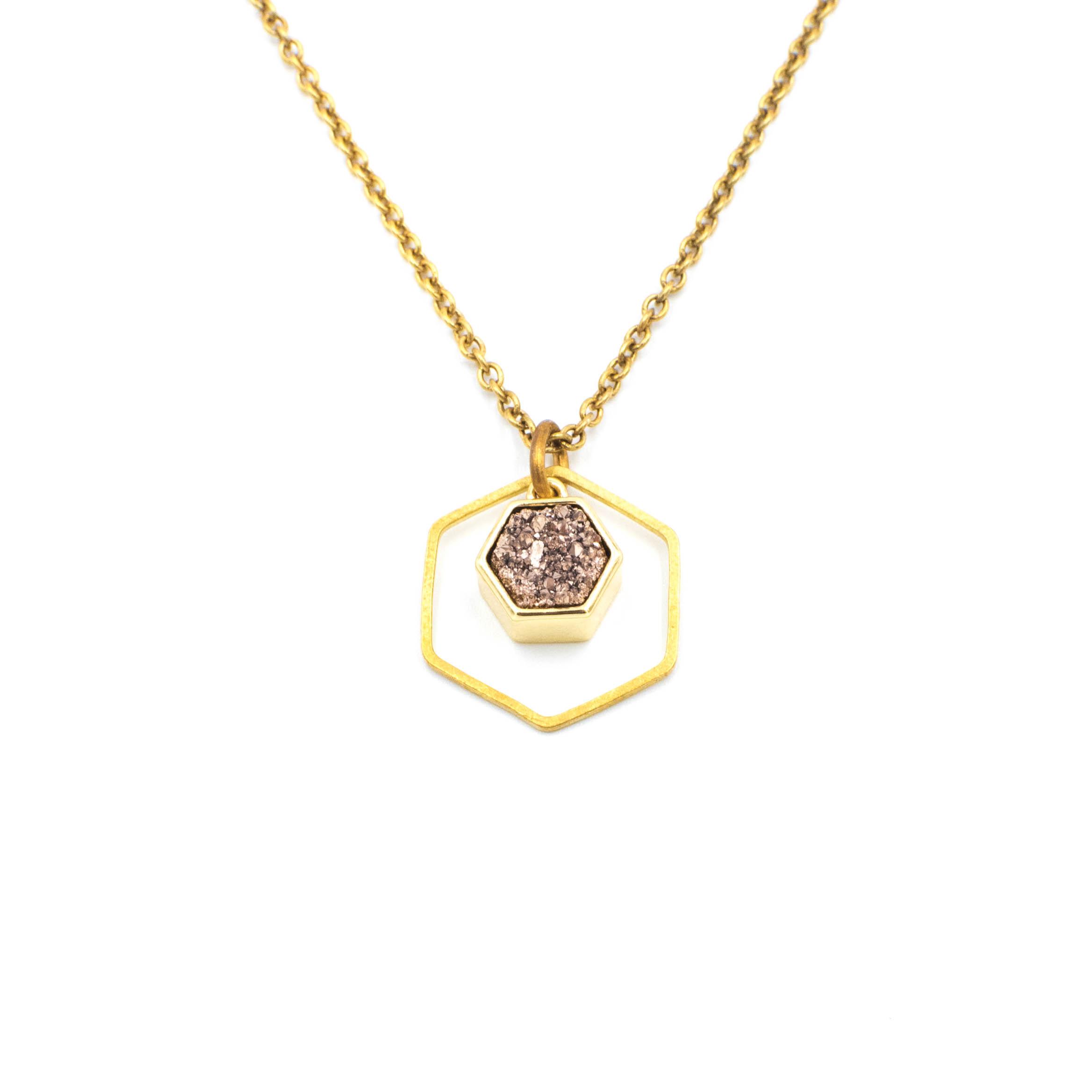 Hexagon Drusy in Rose Gold.jpg