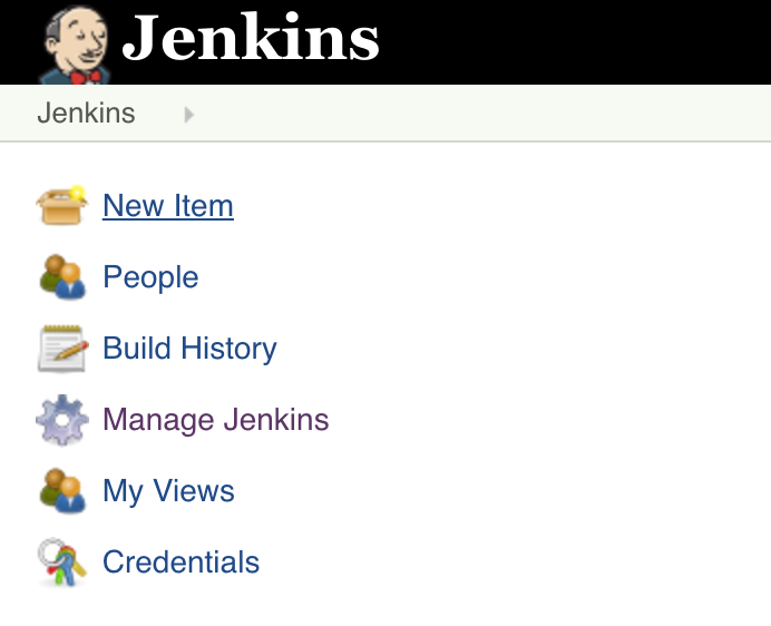 Click on  New Item  on the Jenkins front page.