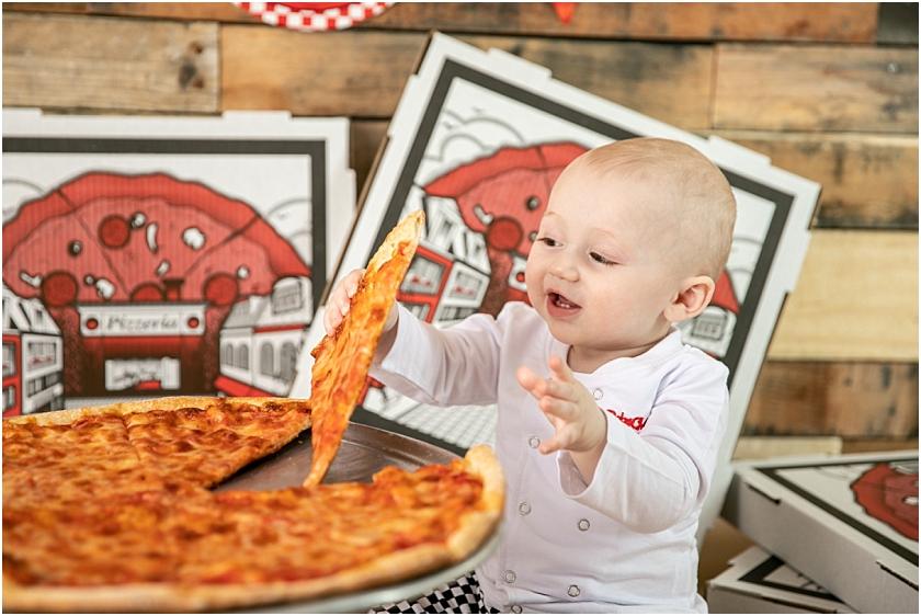 1st Birthday Session South Jersey Childrens Cake Smash Photographer Pizza Smash