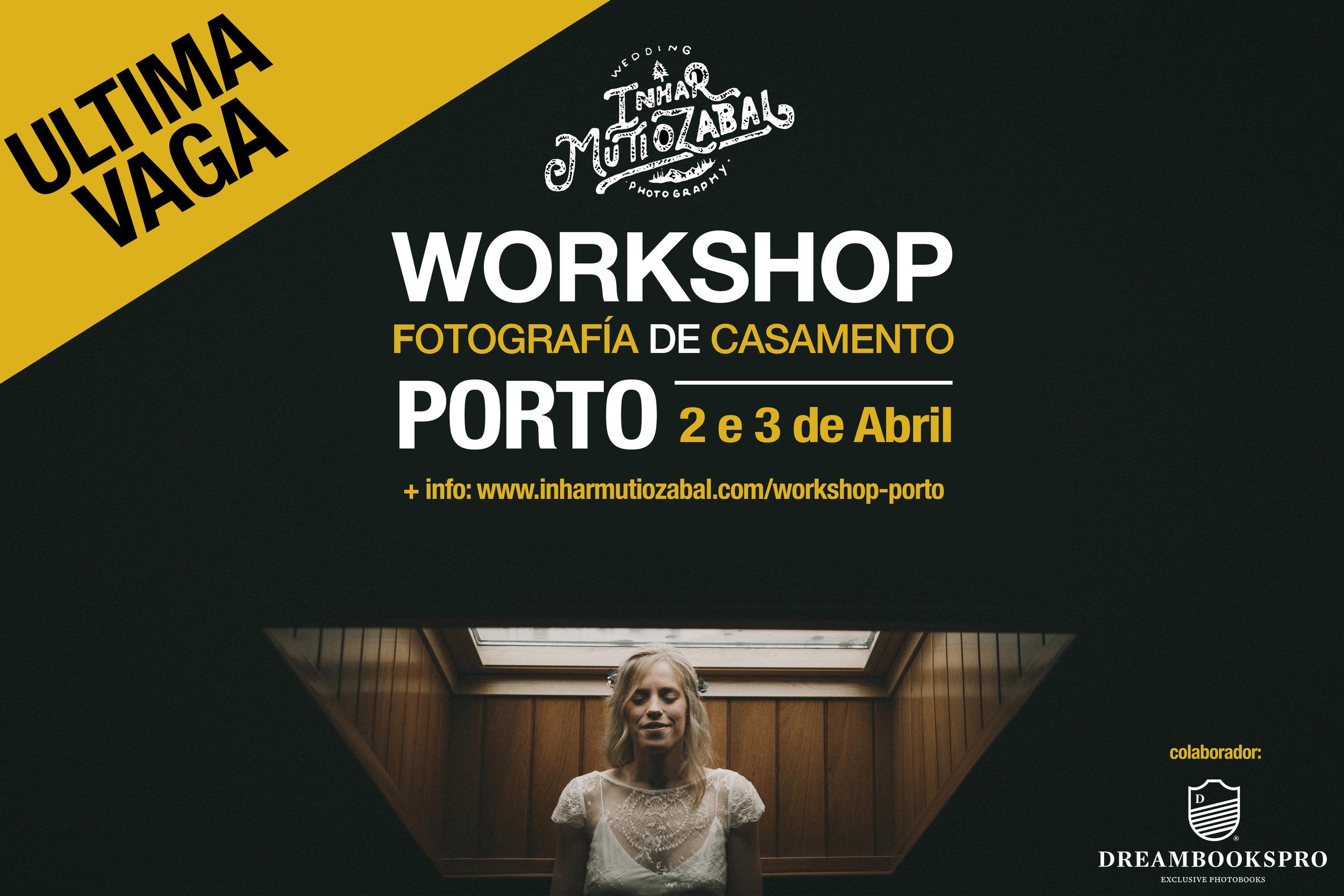 WORKSHOP FOTOGRAFÍA DE CASAMENTO - PORTO2 e 3 de Abril de 2019